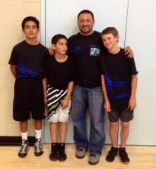 Coach Sam with the team. — with Melissa Jon Kimball, Samuel Ayala and Brian MacKinney.